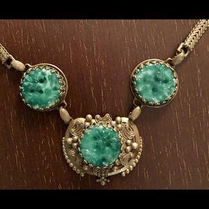 Jewelry - Vintage Czech Peking Glass Deco Necklace Brass